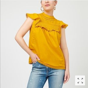 J. Crew flutter-sleeve crocheted lace top Item